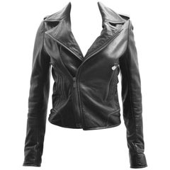 Balenciaga Black Leather Cropped Biker Jacket
