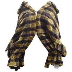 Yohji Yamamoto Y's Yellow/Brown Check Oversized Knit Cape Jacket with Detachable