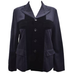 Comme des Garcons Navy Blazer with Velvet Cross Front Panels