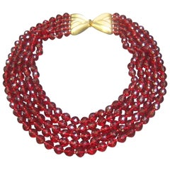Valentino Exquisite Cranberry Crystal Statement Necklace c 1980