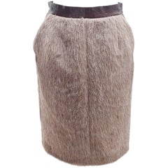 Celine Camel Faux Fur Skirt with Maroon Patent Leather and Khaki Leather Pockets