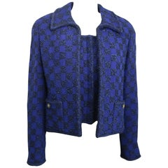 Chanel blue and black tweed jacket and sleeveless top ensemble
