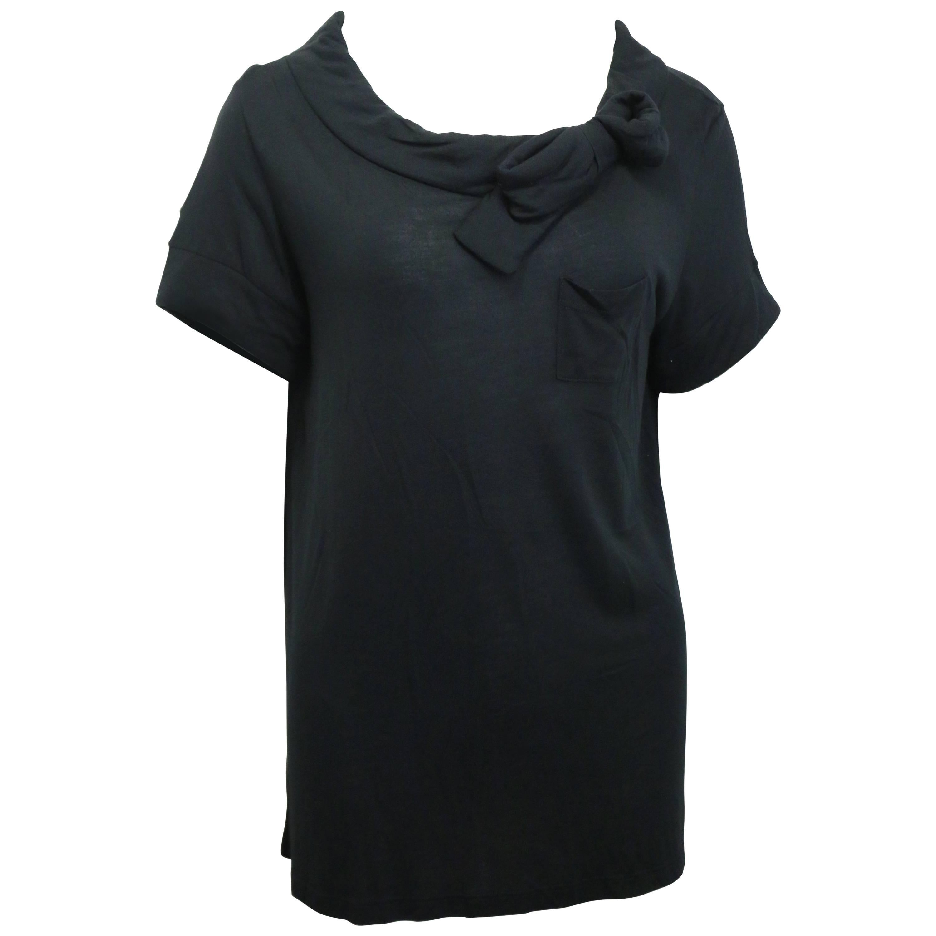 Red Valentino Black Cotton with Bow T-Shirt