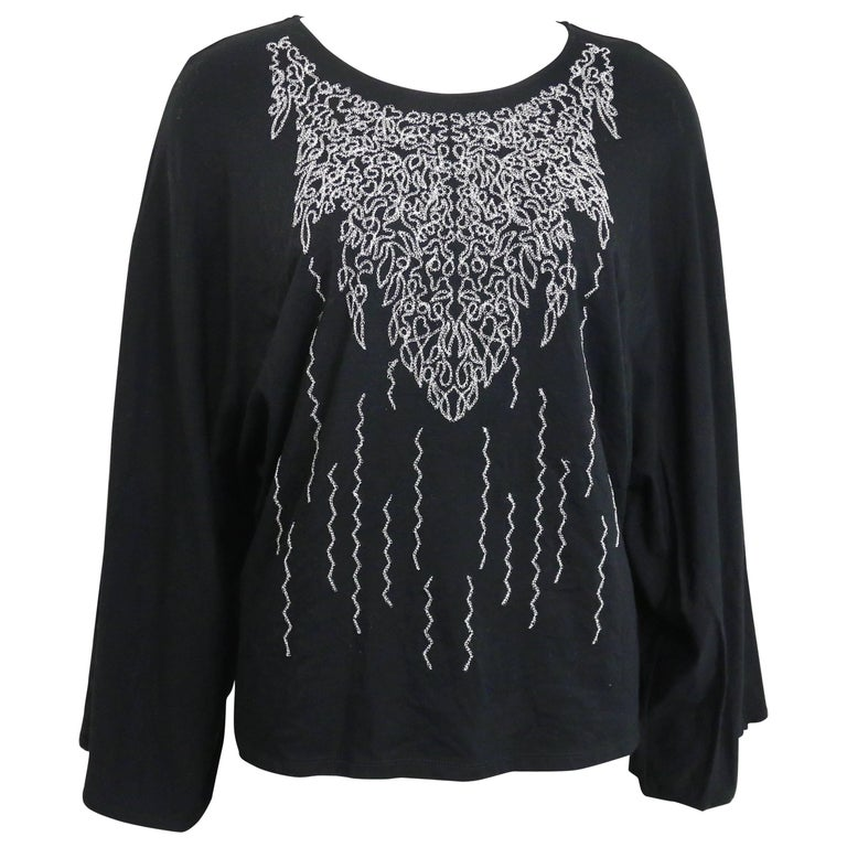 Issey Miyake Fete Black with Silver Embroidered Print Cocoon Long Sleeves Top
