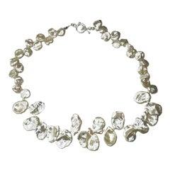 Fluttering White, Iridescent Keshi Pearl Choker Necklace