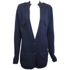 Fall 1996 Gucci by Tom Ford Dark Navy Wool Knitted Cardigan Jacket