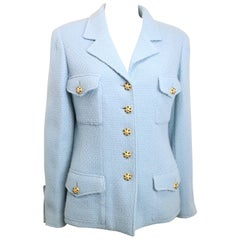 Chanel Gripoix Blue Boucle Wool Jacket