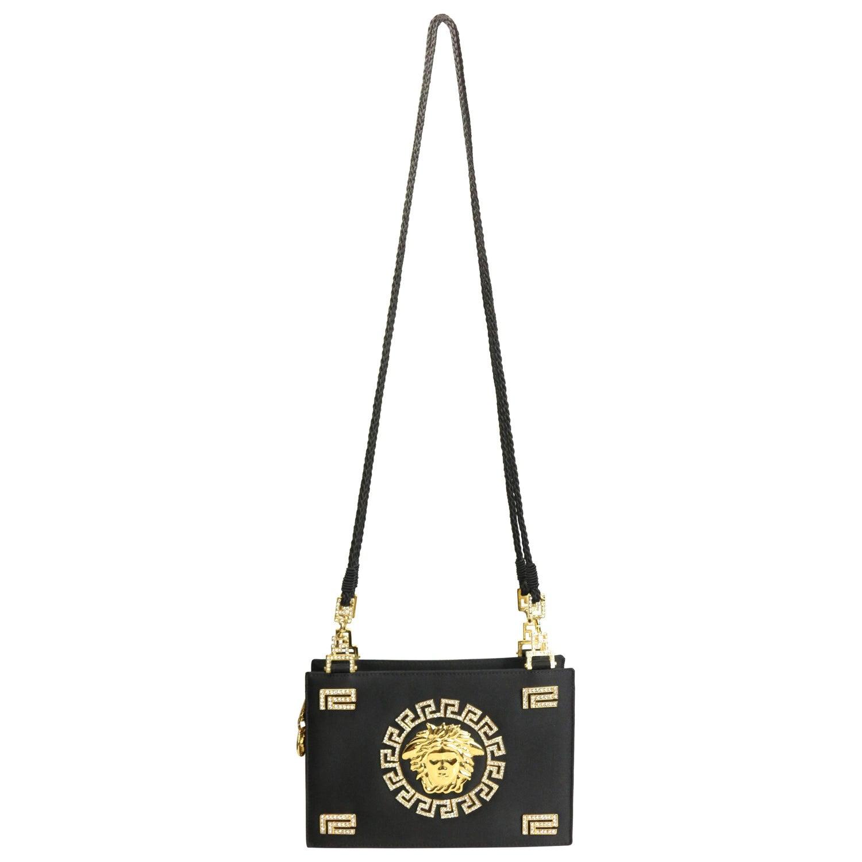 b8a4bd87b70b Gianni Versace Couture Black Satin Gold and Rhinestone Medusa Shoulder Bag