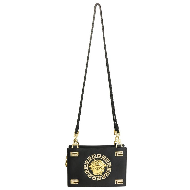 761071247872 Gianni Versace Couture Black Satin Gold and Rhinestone Medusa Shoulder Bag  For Sale at 1stdibs