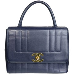 Chanel Classic Navy Blue Caviar Leather Flap Handbag
