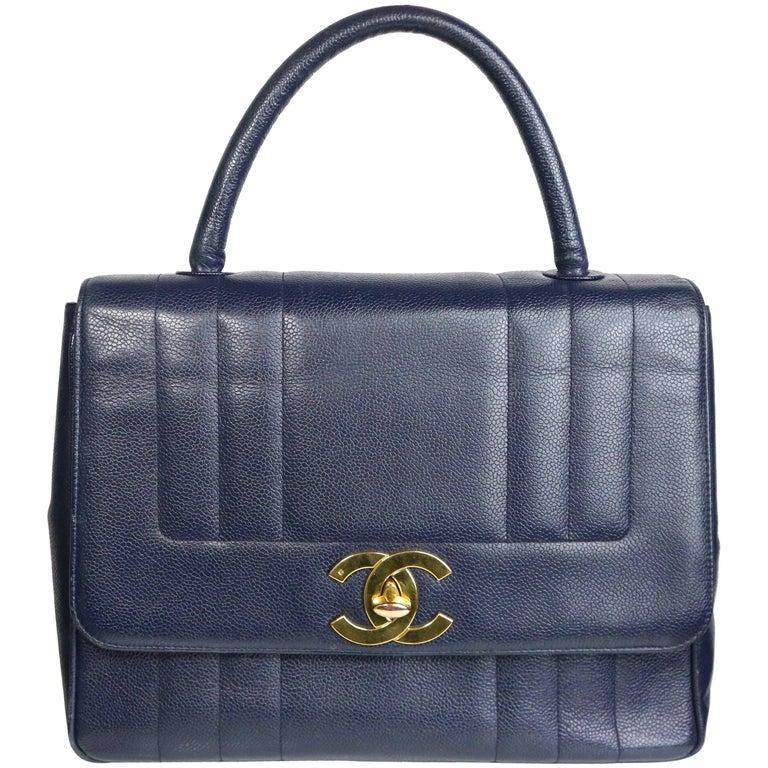 Chanel Classic Navy Blue Caviar Leather Flap Handbag