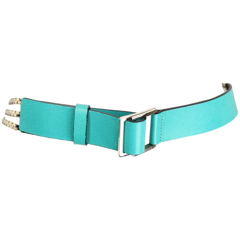 Gianni Versace Turquoise with Three Strand Silver Toned Hardware Chain Belt  For Sale