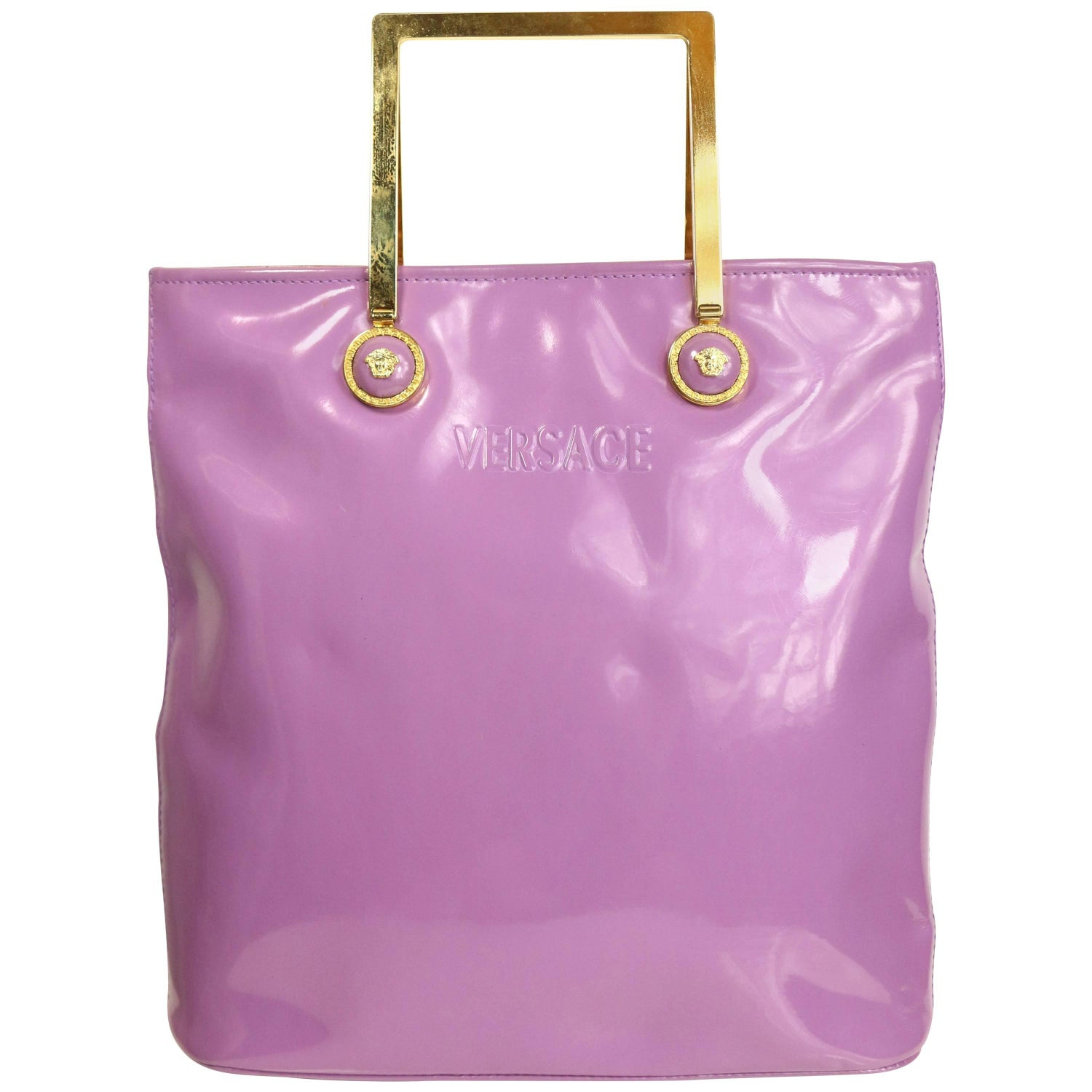b9dd49260f Gianni Versace Purple Patent Leather with Gold Toned Hardware Handle Tote  Bag