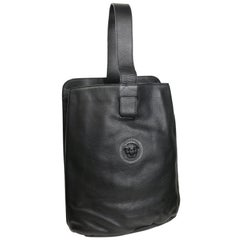 Gianni Versace Couture Black Leather Single Sling Strap Bag