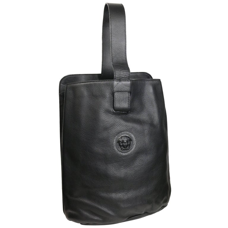 1a770b5e4bad Gianni Versace Couture Black Leather Single Sling Strap Bag For Sale at  1stdibs