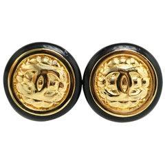 Chanel Gold Black Enamel Cushion Stud Evening Earrings