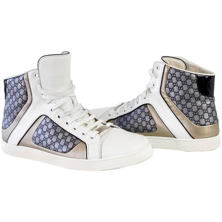 dddc1ff4a Gucci Men's White Monogram GG Grey High Top Sneaker 9.5 G For Sale ...