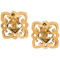 Chanel Gold Filigree Large Square Stud Evening Earrings in Box