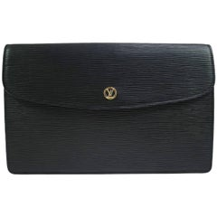 Louis Vuitton Black Leather LV Envelope Carryall Clutch Bag