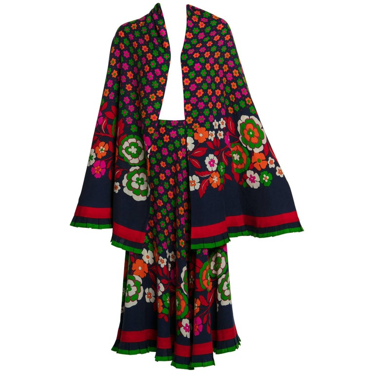 1970s Lanvin Haute-Couture Multicolored Florals Wool Skirt & Shawl Set