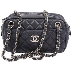 Chanel Classic 2.55 Camera Case Bag - dark blue leather