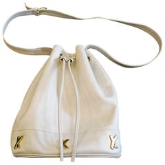 1990s Paloma Picasso White Leather Bucket Bag