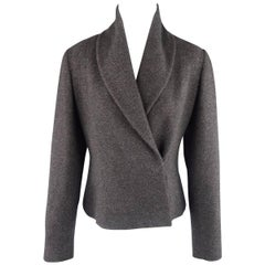 RALPH LAUREN Size 8 Charcoal Wool / Cashmere Shawl Collar Wrap Jacket