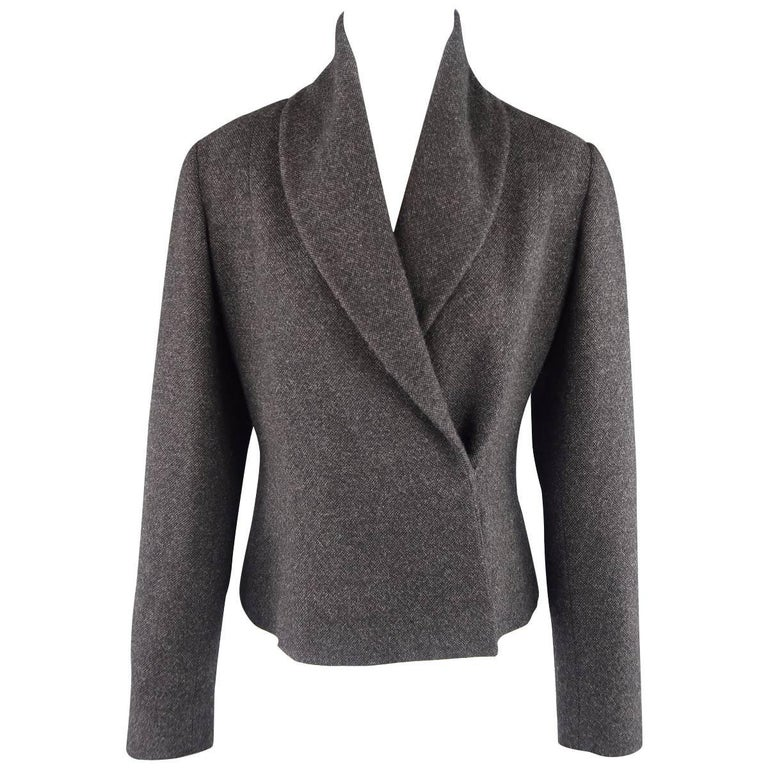 RALPH LAUREN Size 8 Charcoal Wool / Cashmere Shawl Collar Wrap Jacket For Sale