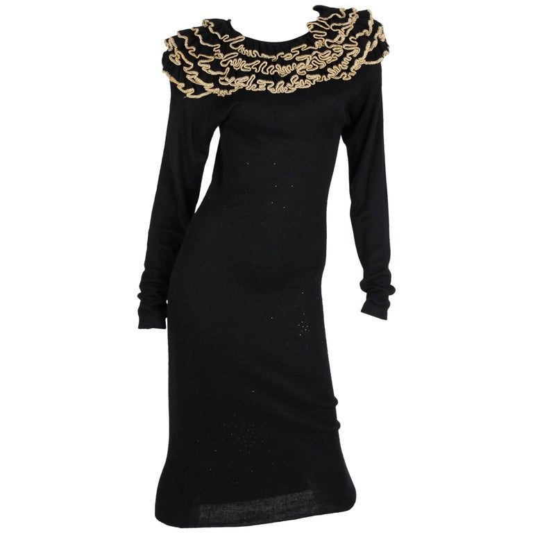 Diane Free Knit Dress - black/gold