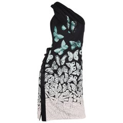 Versace One-Shoulder Butterfly Dress - scarf - black/green/white