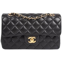 Chanel 2.55 Timeless Small Double Flap Bag - black lambskin leather
