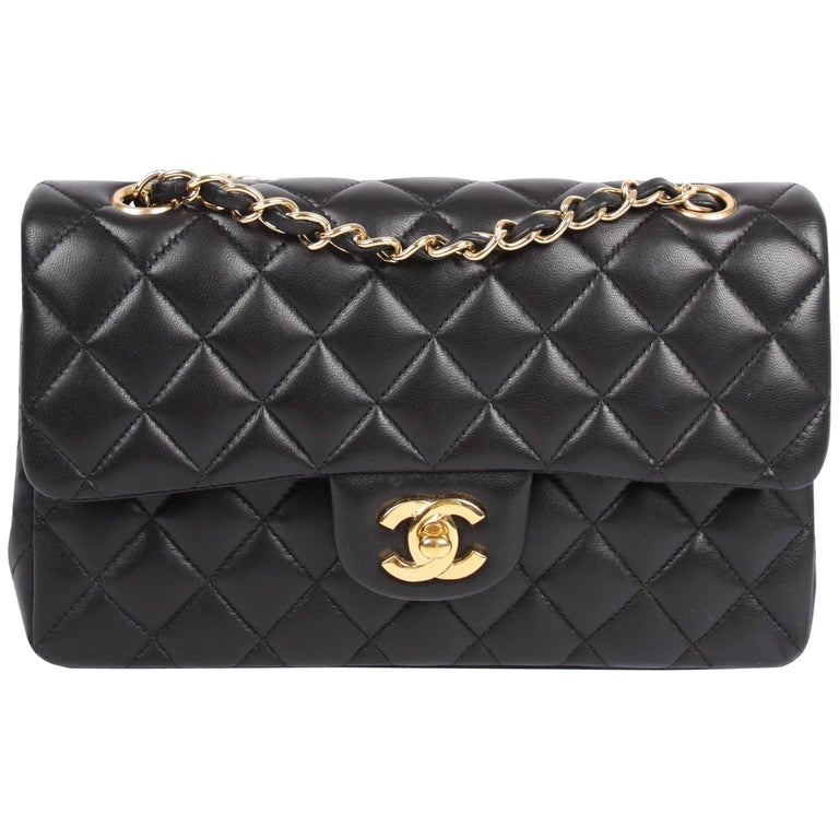 4950fb7468da Chanel 2.55 Timeless Small Double Flap Bag - black lambskin leather For Sale