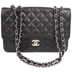 Chanel 2.55 Timeless Jumbo Single Flap Bag - black caviar leather/silver