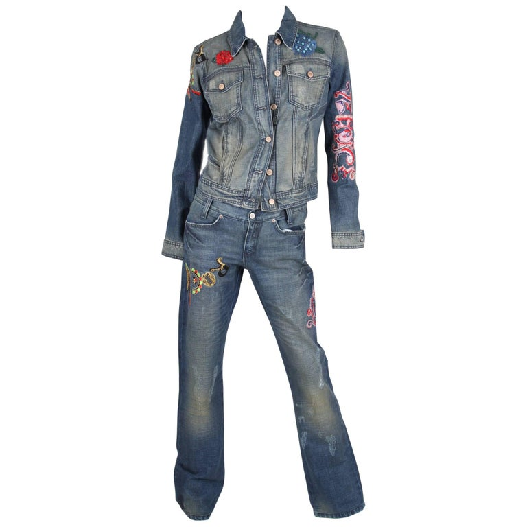 Versace 2-pcs Denim Suit Jacket & Pants - blue