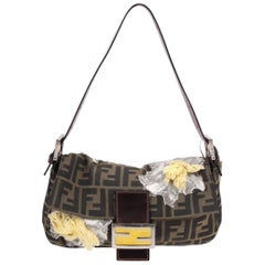 Fendi Zucca Flower Baguette Shoulder Bag - brown