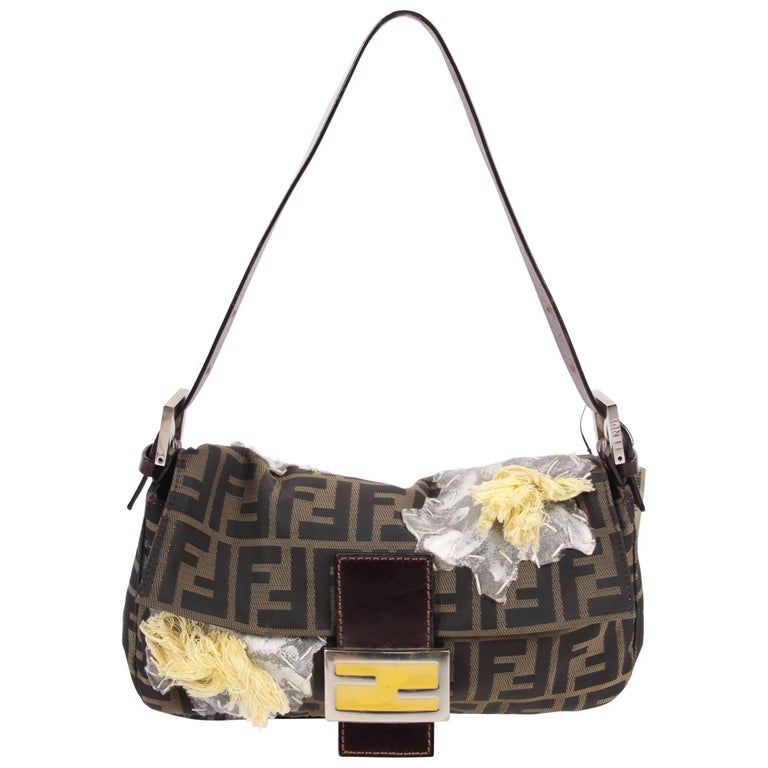 Fendi Zucca Flower Baguette Shoulder Bag Brown For