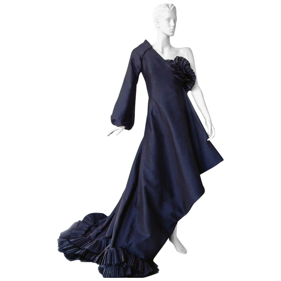 Gianfranco Ferre Grand Entrance Bare Shoulder Asymmetric Dress Gown