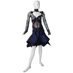 Gianfranco Ferre Favorite Avant Garde Beaded Blue Evening Dress   NEW