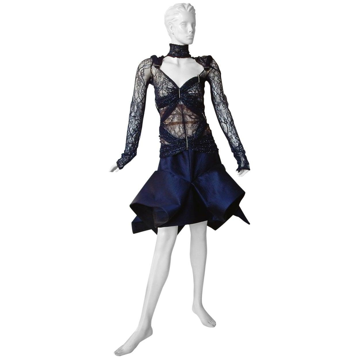 Gianfranco Ferre Favorite Avant Garde Beaded Blue Evening Dress   NEW