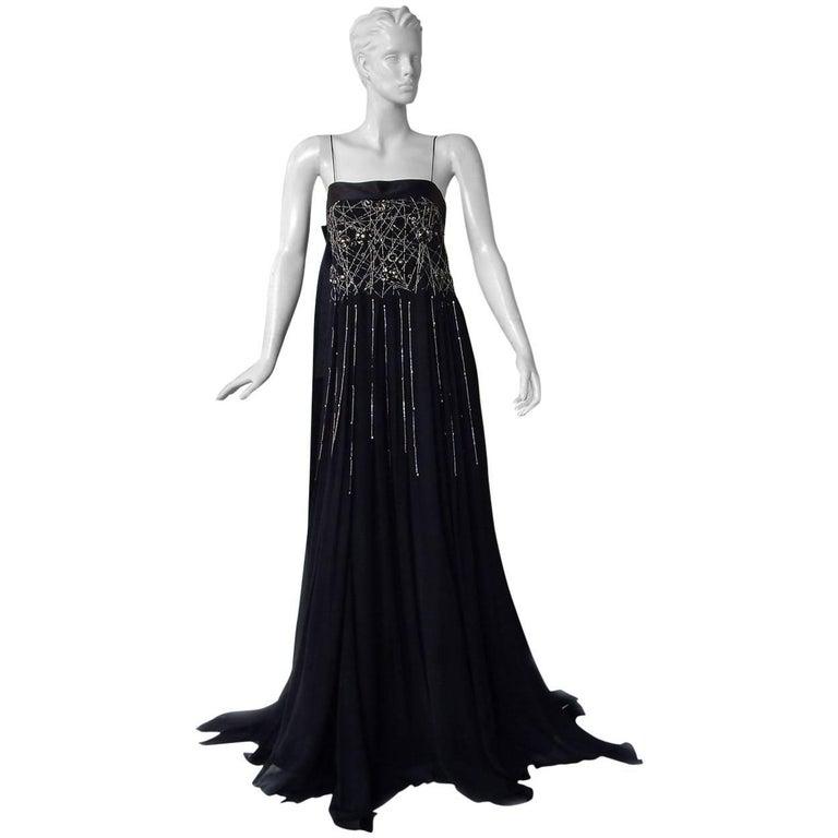 NWT Gianfranco Ferre Black Silk Handkerchief Hem Glitter Gown