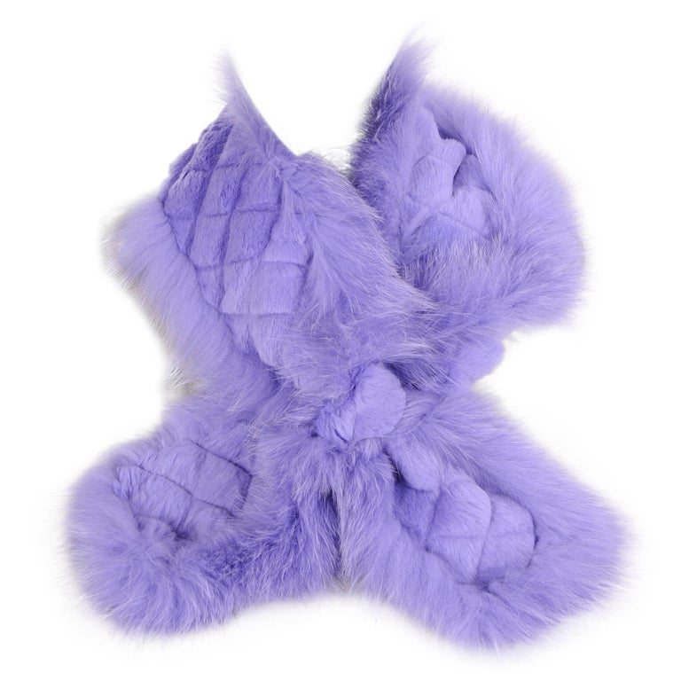 Etro Lavender Fox and Lapin Fur Scarf 1