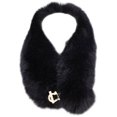 Salvatore Ferragamo Fur Collar - dark blue