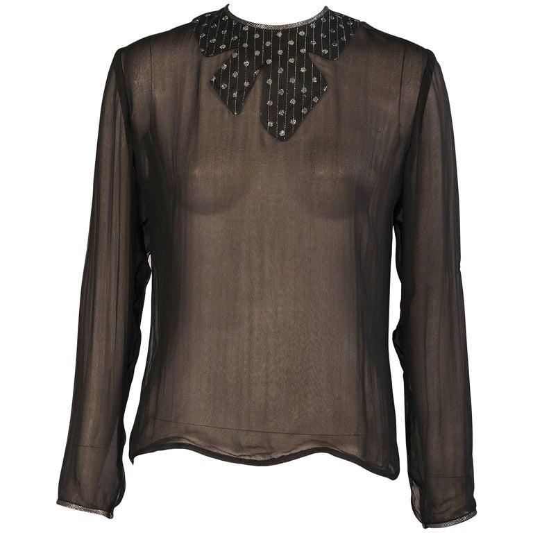 9983e377c7212d Geoffrey Beene Metallic Appliqued Black Silk Chiffon Blouse For Sale ...