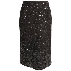 Dolce & Gabbana Beaded Black Wool Pencil Skirt