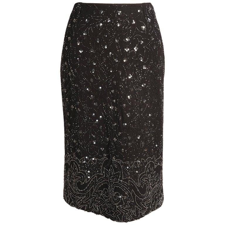 Dolce & Gabbana Beaded Black Wool Pencil Skirt