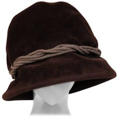 Balenciaga Haute Couture Brown Velour Hat circa 1960