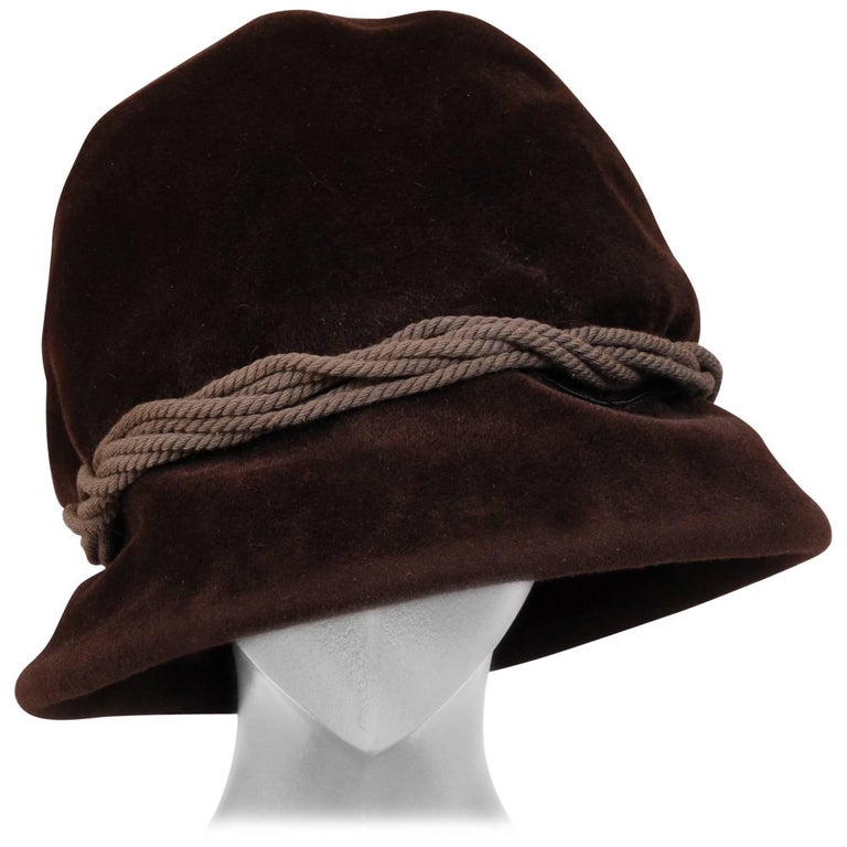Balenciaga Haute Couture Brown Velour Hat circa 1960 For Sale