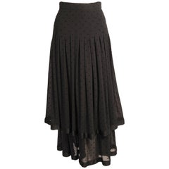 Valentino Tiered Black Silk Skirt with Velvet Polka Dots