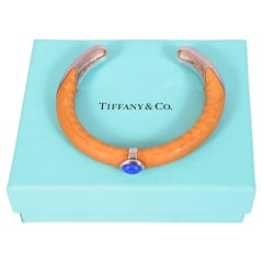 Rare Elsa Peretti Bamboo, Lapis and Sterling Silver Bracelet, for Tiffany & Co.