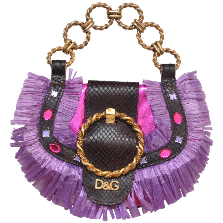 D&G Dolce Gabbana Mini Straw Metallic Fuchsia Handbag  Mint 1